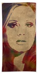 Adele Watercolor Portrait Beach Towel