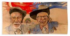 Beach Sheet featuring the painting Adil Sahin And Len Hall by Ray Agius