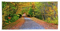 Adirondack Autumn Road Beach Sheet