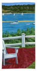 Beach Towel featuring the drawing Adirondack Chair On Cape Cod by Dominic White