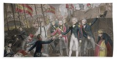 Admiral Nelson's Boarding The Two Spanish Ships, 14th February 1797 Beach Towel