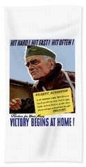 Admiral William Bull Halsey -- Ww2 Propaganda  Beach Towel