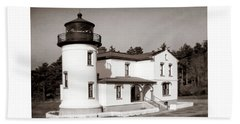 Admiralty Head Lighthouse Vintage Photograph Beach Towel