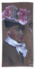 Admirer, 1947 Easter Bonnet -- The Original -- Retro Portrait Of African-american Woman Beach Sheet