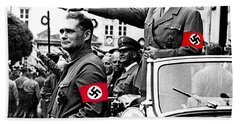 Adolf Hitler Giving The Nazi Salute From A Mercedes #3 C. 1934-2015 Beach Sheet
