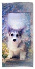 Adorable Corgi Puppy Beach Towel