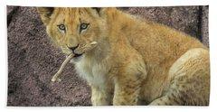 Adorable Lion Cub Beach Sheet