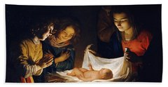 Beach Towel featuring the painting Adoration Of The Child by Gerrit van Honthorst