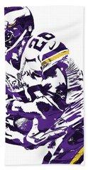 Beach Sheet featuring the mixed media Adrian Peterson Minnesota Vikings Pixel Art by Joe Hamilton