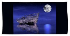 Beach Sheet featuring the photograph Adrift In The Moonlight - Old Fishing Boat by Gill Billington