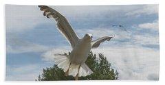 Adult Seagull In Flight Beach Sheet