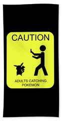 Beach Towel featuring the digital art Adults Catching Pokemon 1 by Shane Bechler