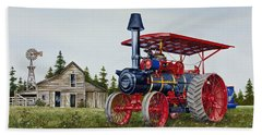 Beach Sheet featuring the painting Advance Rumely Steam Traction Engine by James Williamson
