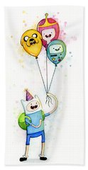Adventure Time Finn With Birthday Balloons Jake Princess Bubblegum Bmo Beach Towel
