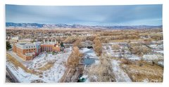 aerial cityscape of Fort Collins Beach Towel