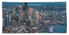 Aerial Downtown Seattle And The Great Wheel Beach Towel
