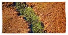 Aerial Farm Stream Lillies  Beach Towel