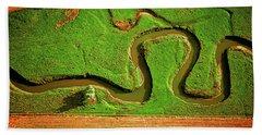 aerial, farm, stream, northern, Illinois, farms, meandering  Beach Towel