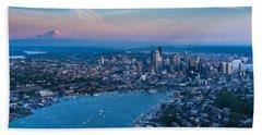 Aerial Lake Union, Rainier And Seattle Beach Towel