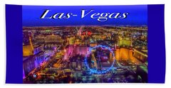 Aerial Las- Vegas Evening Beach Towel