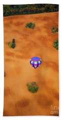 Aerial Of Hot Air Balloon Above Tilled Field Fall Beach Towel