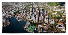 Beach Towel featuring the photograph Aerial Panorama - Downtown - Honolulu, Oahu, Hawaii  by D Davila