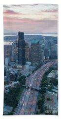 Aerial Seattle Skyline And Interstate 5 Beach Towel