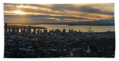 Aerial Seattle Skyline Panorama Looking West Beach Towel
