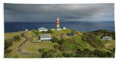 Aerial View Of Cape Moreton Lighthouse Precinct Beach Sheet