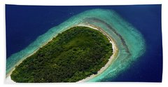 Beach Towel featuring the photograph Aerial View Of Deserted Island. Maldives by Jenny Rainbow