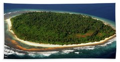 Beach Towel featuring the photograph Aerial View Of Deserted Maldivian Island by Jenny Rainbow