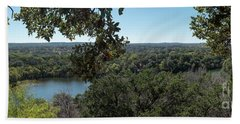 Aerial View Of Large Forest And Lake Beach Towel