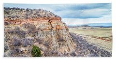 aerial view of northern Colorado foothills  Beach Towel