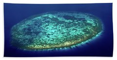 Beach Towel featuring the photograph Aerial View Of Rounded Coral Reef. Maldives by Jenny Rainbow