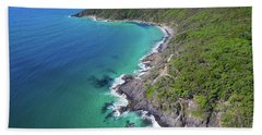 Beach Towel featuring the photograph Aerial View Of The Coastline In Noosa National Park by Keiran Lusk