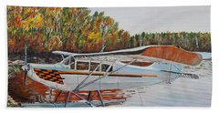 Beach Towel featuring the painting Aeronca Super Chief 0290 by Marilyn  McNish