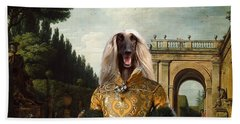 Afghan Hound-the Afternoon Promenade In Rome  Canvas Fine Art Print Beach Towel