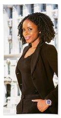 African American Businesswoman Working In New York Beach Sheet