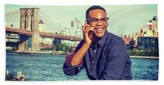 African American Man Traveling In New York Beach Towel