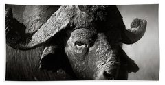 African Buffalo Bull Close-up Beach Towel