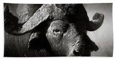 African Buffalo Bull Close-up Beach Towel