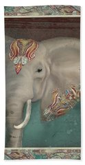 Beach Towel featuring the painting African Bull Elephant - Kashmir Paisley Tribal Pattern Safari Home Decor by Audrey Jeanne Roberts