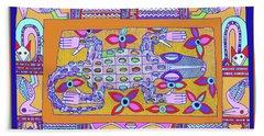 Beach Towel featuring the digital art African Croc Beach Bum by Vagabond Folk Art - Virginia Vivier