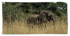 African Elephant In Tall Grass Beach Sheet
