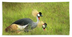 African Gray Crown Crane Beach Towel