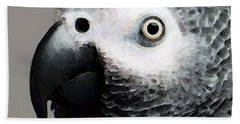 African Gray Parrot Art - Softy Beach Towel