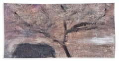 African Landscape Baby Elephant And Banya Tree At Watering Hole With Mountain And Sunset Grasses Shr Beach Towel