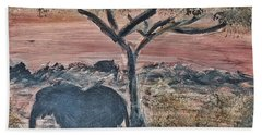 African Landscape With Elephant And Banya Tree At Watering Hole With Mountain And Sunset Grasses Shr Beach Towel
