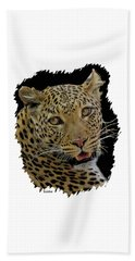 African Leopard Portrait Beach Sheet
