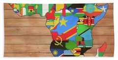 African Nations Rustic Map On Wood Beach Towel